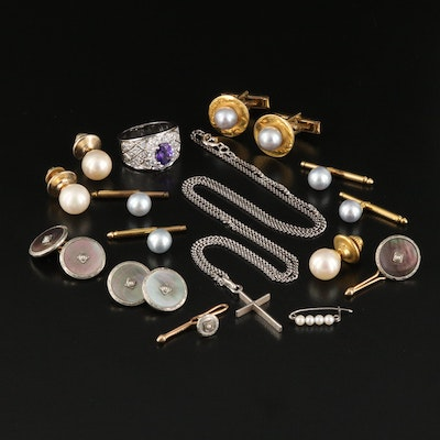 Gemstone Cufflinks, Buttons and Tie Tacks Including Sterling Silver and 14K Gold