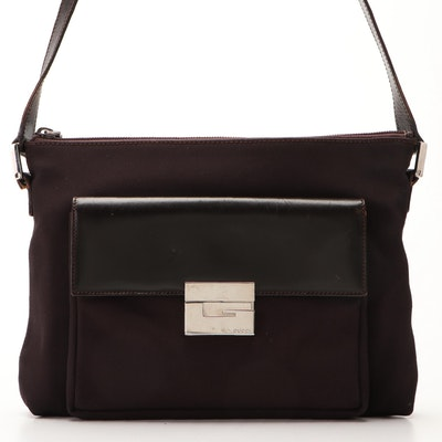 Gucci Front Pocket G-Clasp Shoulder Bag in Dark Brown Nylon Canvas and Leather