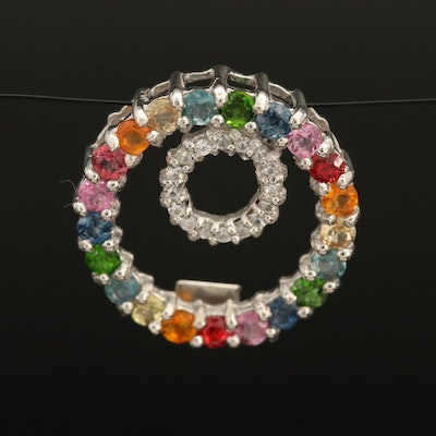 Sterling Double Circle Pendant with Tourmaline, Sapphire and Zircon