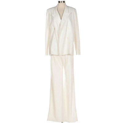 Black Halo EVE by Laurel Berman White Sequined Double-Breasted Jacket and Pants