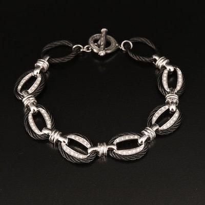 Charriol 18K and Steel 0.30 CTW Diamond Fancy Link Bracelet