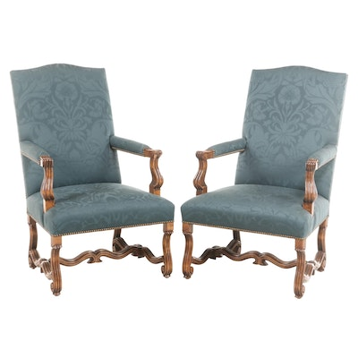 Pair of Louis XIV Style Custom-Upholstered Fauteuils, Late 20th Century