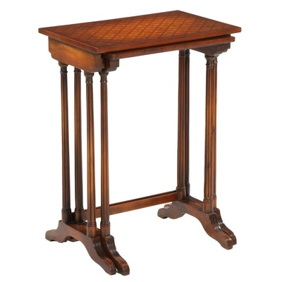 Two Theodore Alexander Parquetry Wood Nesting Tables, 21st Century