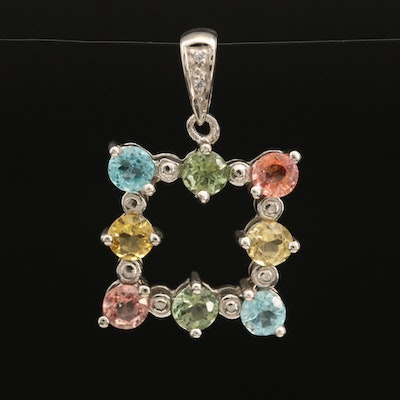 Sterling Square Pendant with Sapphire, Apatite and Zircon