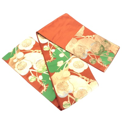 Metallic Plum Blossom Embroidered Silk Fukuro Obi, Showa Period