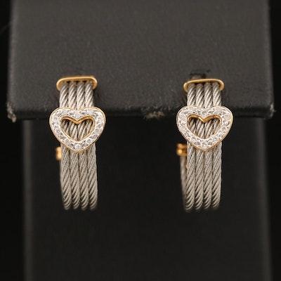 Charriol 0.10 CTW Diamond Heart Hoop Earrings with 18K Accents