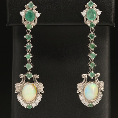 Sterling Pendulum Earrings with Opal, Cubic Zirconia and Emerald