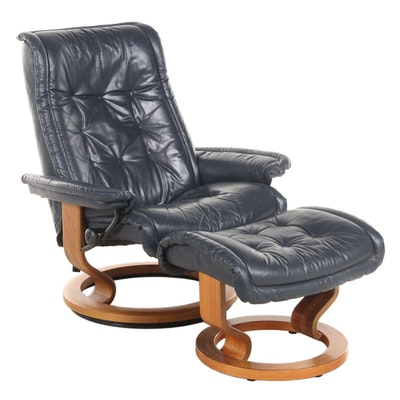 """Ekornes """"Stressless"""" Leather Recliner and Ottoman"""