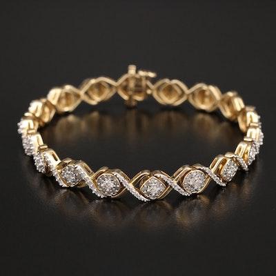 """14K 2.04 CTW Diamond """"XO"""" Link Bracelet"""