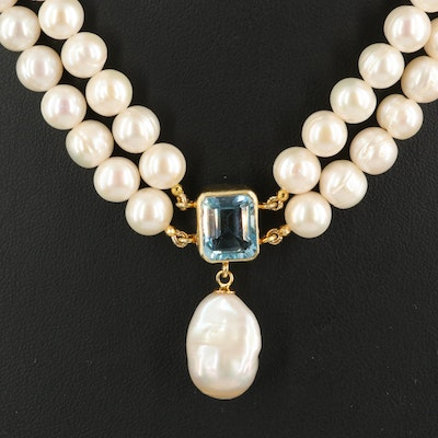 Sterling Pearl, Sky Blue Topaz and Ruby Necklace