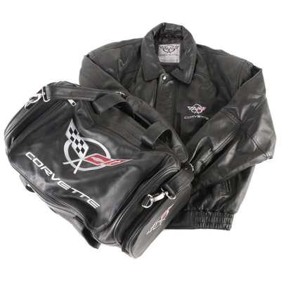 Corvette Embroidered Black Leather Jacket and Grained Leather Duffel Bag