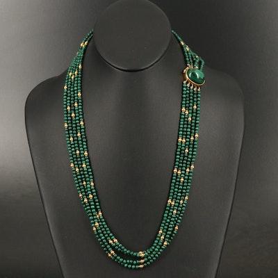 18K Malachite Multi-Strand Necklace