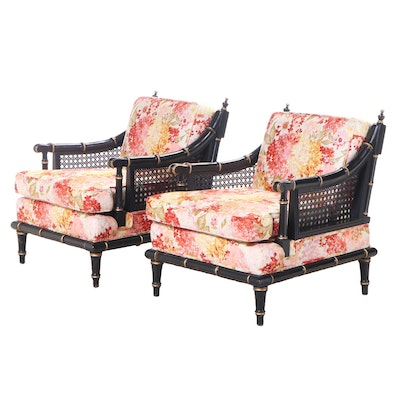 Ebonized and Parcel-Gilt Frame with Cane Arm Floral Upholstered Chairs