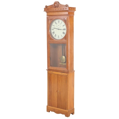 Victorian Style Converted Electric Oak Wood Longcase Clock with Cabinet