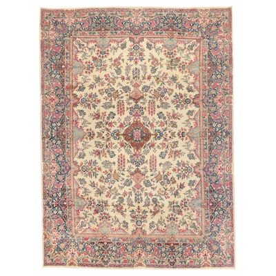 8'11 x 12'1 Hand-Knotted Persian Kerman Room Sized Rug