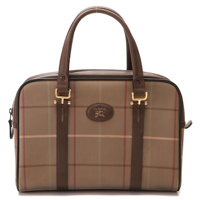 Burberry Boston Bag in Plaid Canvas with Brown Saffiano Leather Trim