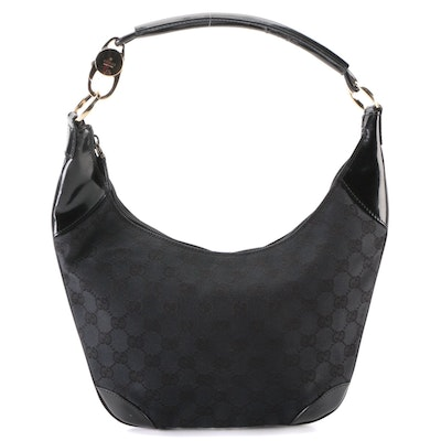Gucci Hobo Shoulder Bag in Black GG Canvas and Patent Leather