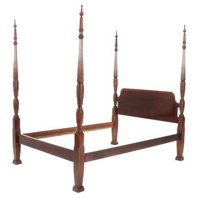 Mahogany Four Poster Queen Size Rice Bed
