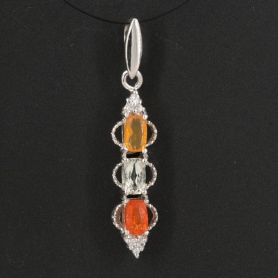 Sterling Silver Fire Opal and Zircon Pendant