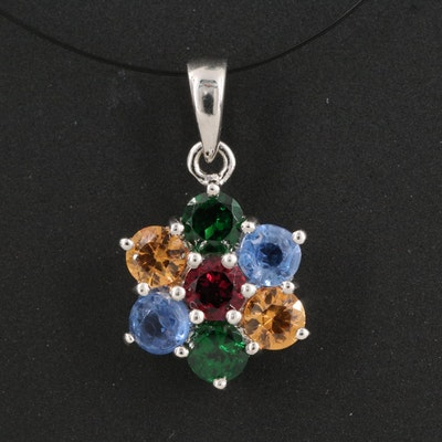 Sterling Silver Tsavorite Garnet, Garnet and Sapphire Pendant