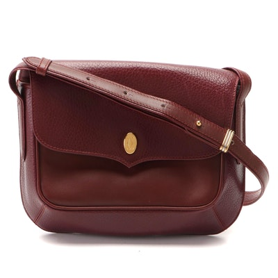 Must de Cartier Flap Front Shoulder Bag in Bourdeau Grained and Smooth Leather