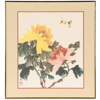 Offset Lithograph After Hui Chi Mau of Flowers and Butterflies