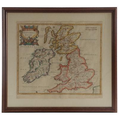 """Robert Morden Hand-Colored Engraving Map """"Britannia Romana,"""" 1695"""