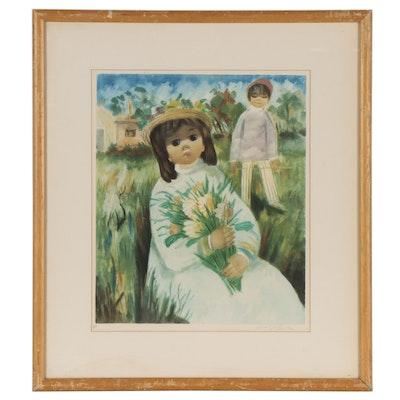 Nino Giuffrida Lithograph of Children and Flowers