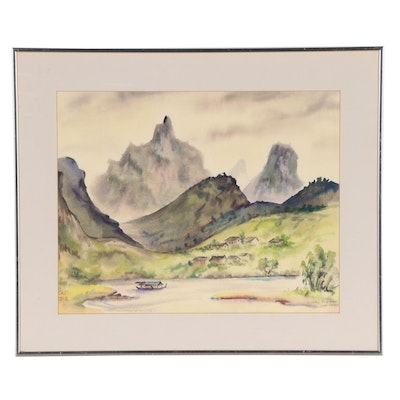 Dorothy Cogswell Landscape Watercolor Painting, 1981