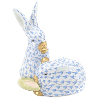"""Herend Blue Fishnet with Gold """"Pair of Rabbits with Corn"""" Porcelain Figurine"""