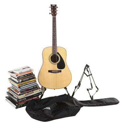 Yamaha FD01S Acoustic Guitar with Stands and Music Books