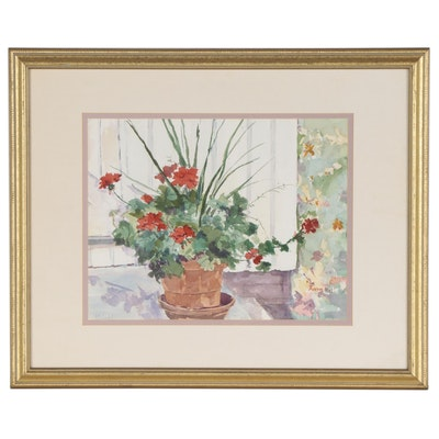 Anne Hall Floral Still Life Watercolor Painting, Late 20th Century