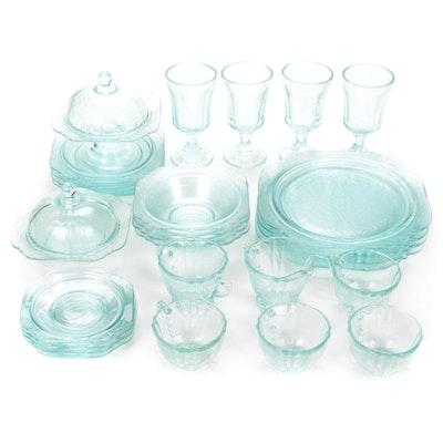 Light Aqua Depression Glass Style Dinnerware