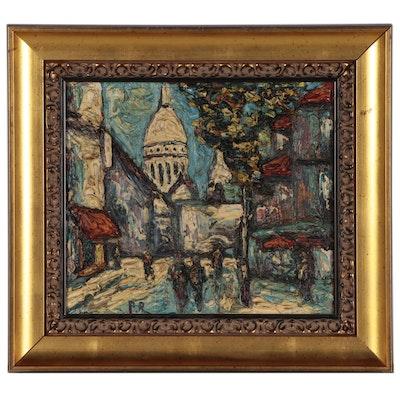 Preben Rasmussen Cityscape Oil Painting, Mid-20th Century