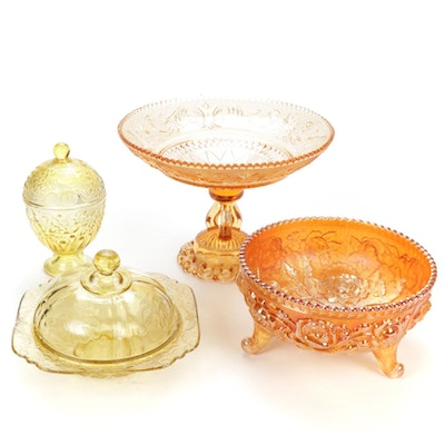 Depression and Carnival Glass Compote, Candy Dish and Lidded Vessels
