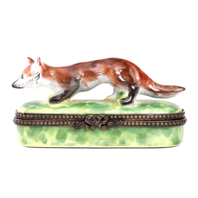 Parry Vielle Hand-Painted Porcelain Red Fox Limoges Box