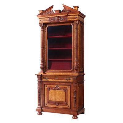 American Aesthetic Movement Walnut and Bird's-Eye Maple Cabinet