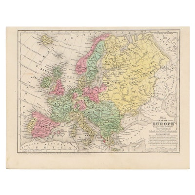 Mitchell's Hand-Colored Lithograph Map of Europe