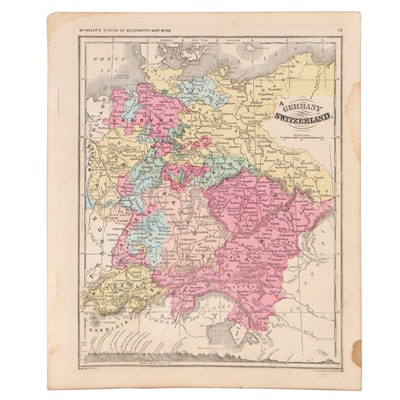 Francis McNally Hand-Colored Engraving Map of Germany and Switzerland