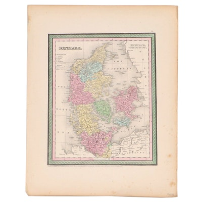 Hand-Colored Lithograph of Denmark, 20th Century