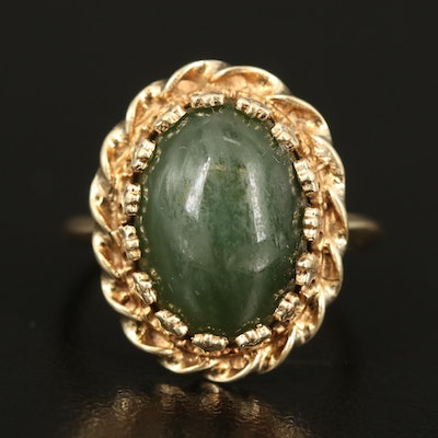 14K Nephrite Ring with Scalloped Halo