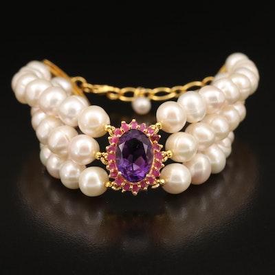 Sterling Amethyst, Ruby and Pearl Bracelet