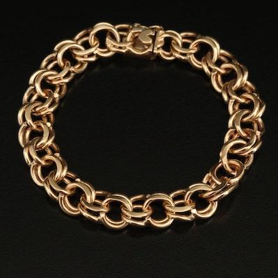 14K Double Curb Chain Bracelet
