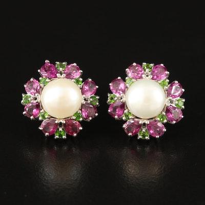 Sterling Pearl, Garnet and Diopside Stud Earrings