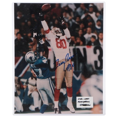 Jerry Rice Signed San Francisco 49ers NFL Football Photo Print, COA