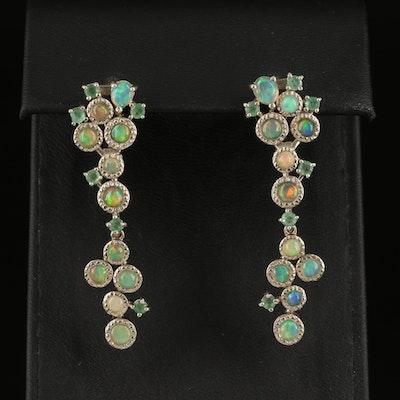 Sterling Opal and Emerald Drop Earrings