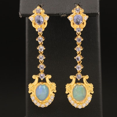 Sterling Opal, Tanzanite and Cubic Zirconia Pendulum Earrings