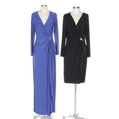 Lauren by Ralph Lauren Embellished Draped V-Neck Dresses in Black and Purple