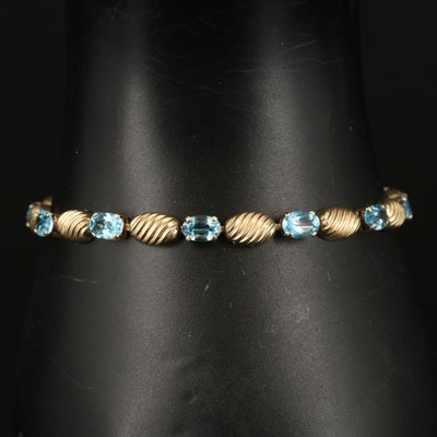 10K Swiss Blue Topaz Fluted Bracelet