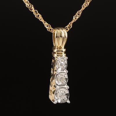 10K Diamond Graduated 'Love' Pendant on 14K Singapore Chain Necklace